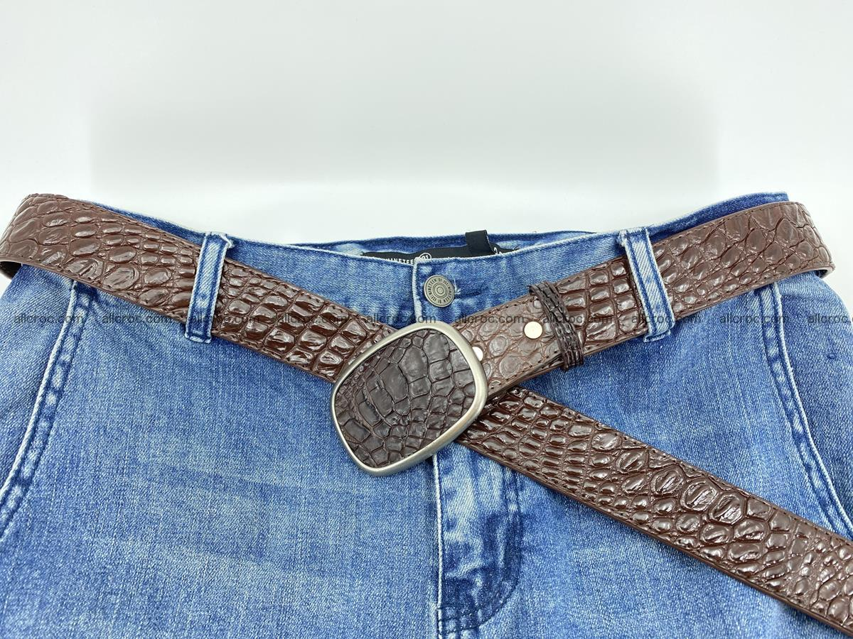 Handcrafted Crocodile leather belt 781 Foto 5