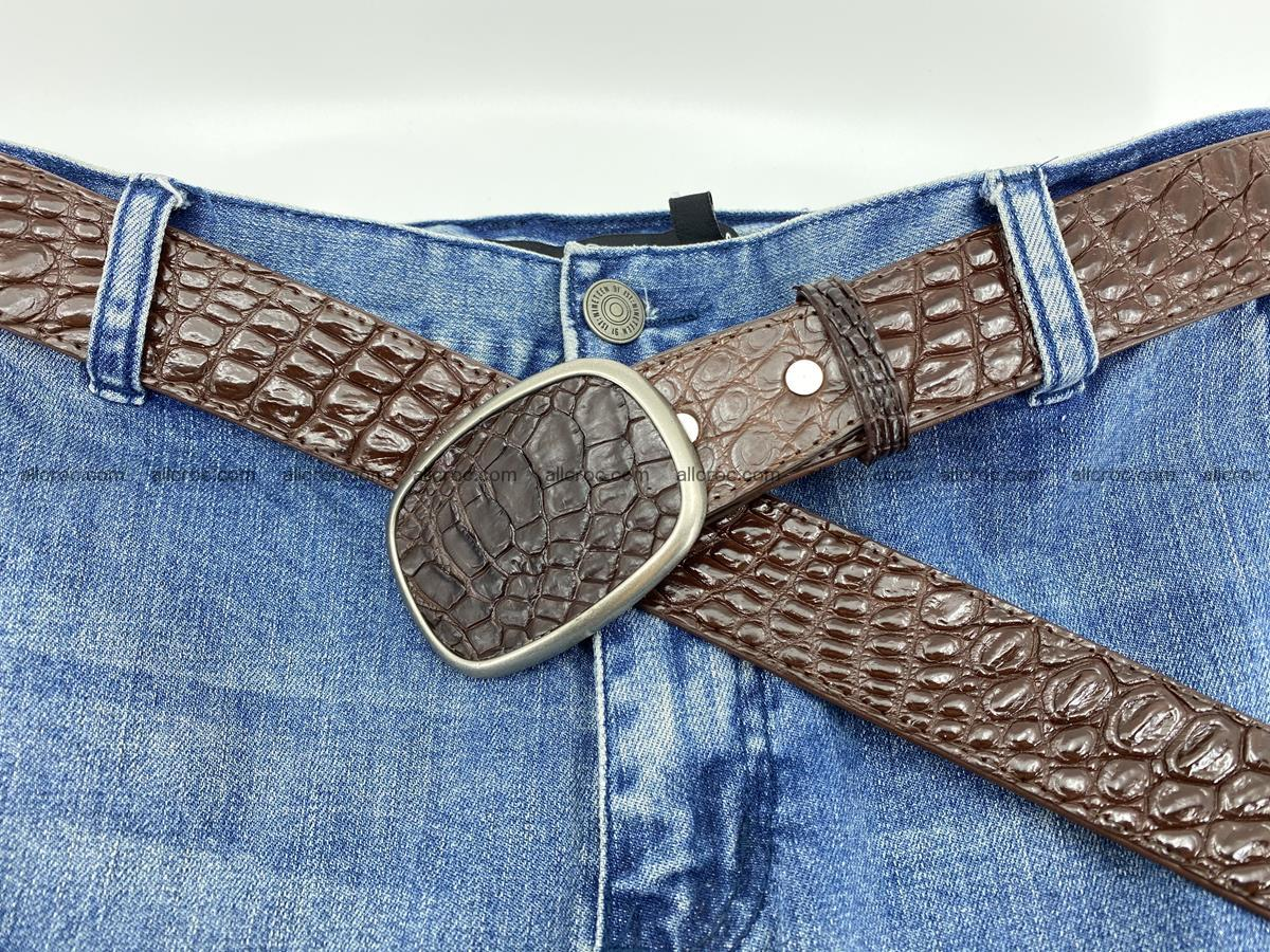 Handcrafted Crocodile leather belt 781 Foto 6