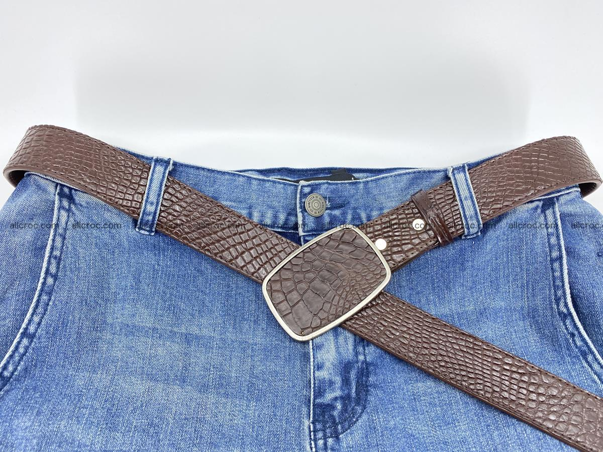 Handcrafted Crocodile leather belt 785 Foto 6