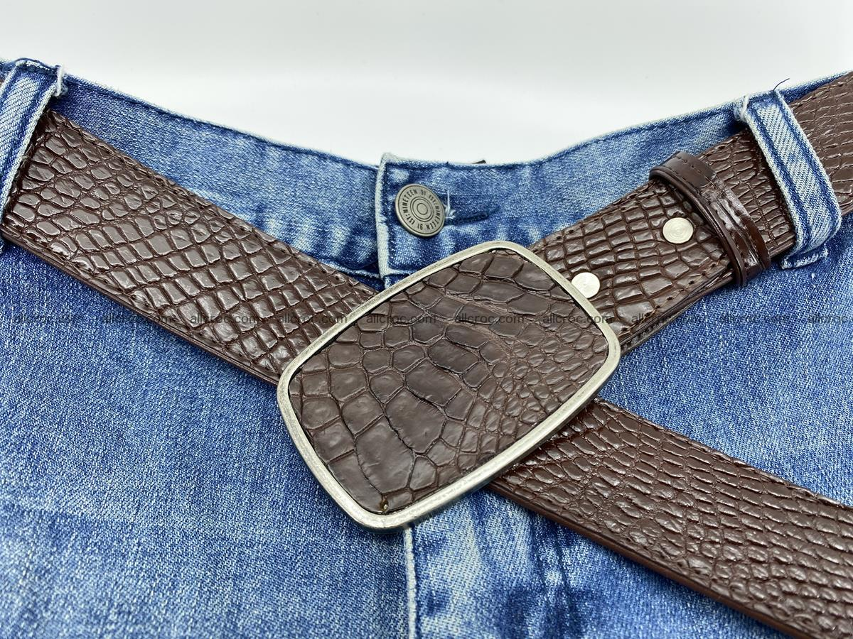 Handcrafted Crocodile leather belt 785 Foto 5