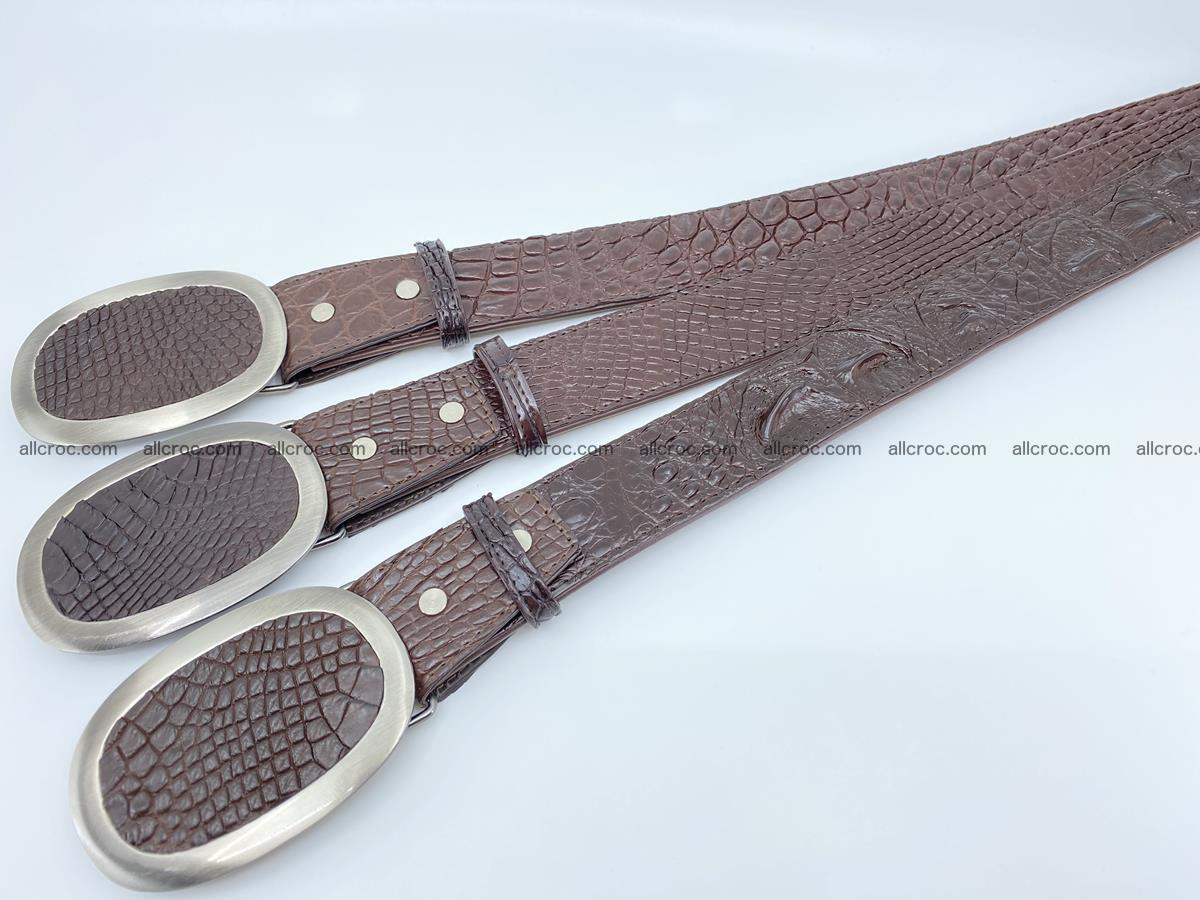 Handcrafted Crocodile leather belt 789 Foto 7