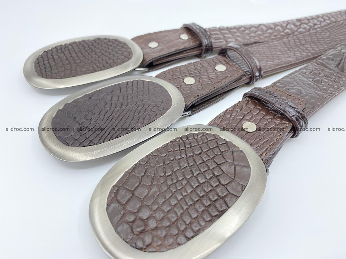Handcrafted Crocodile leather belt 791 Foto 7