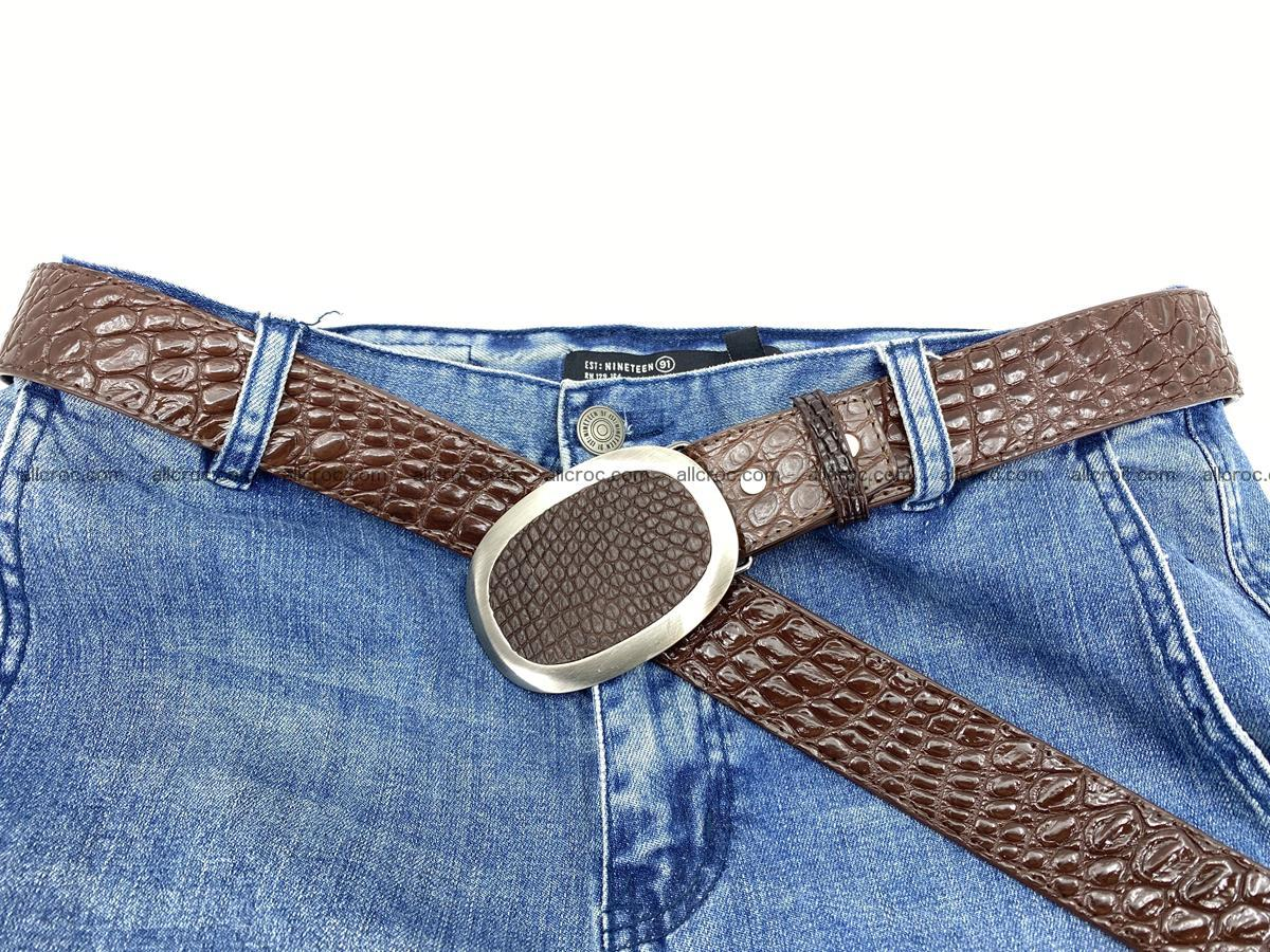 Handcrafted Crocodile leather belt 789 Foto 5