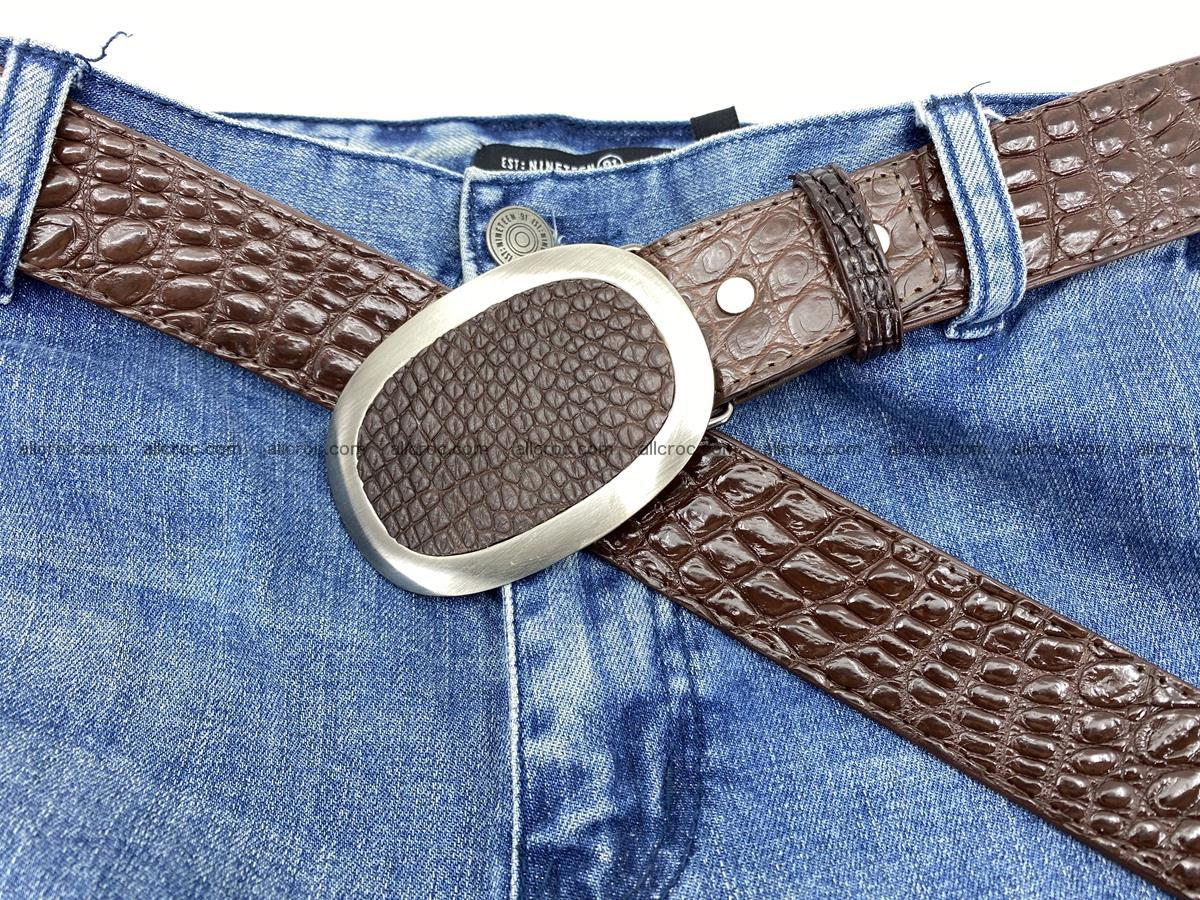 Handcrafted Crocodile leather belt 789 Foto 6
