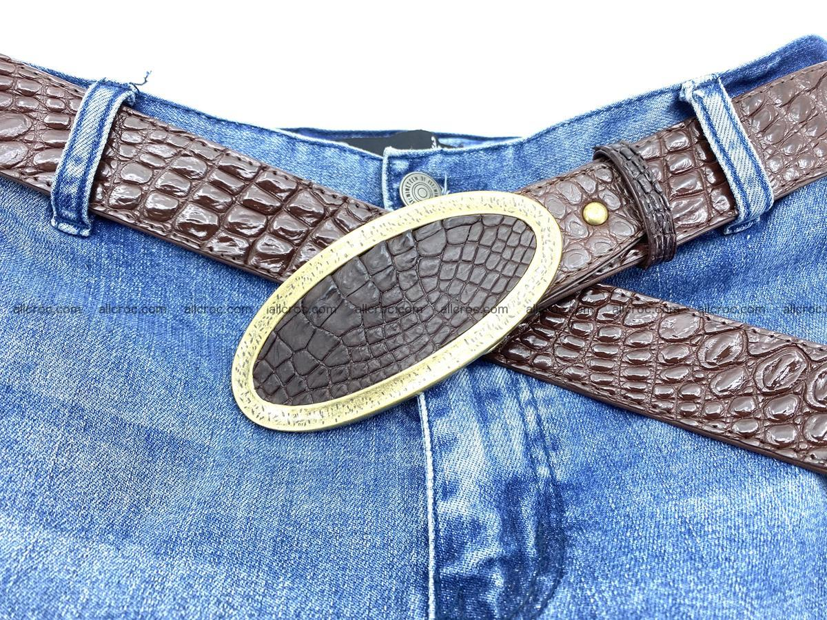 Handcrafted Crocodile leather belt 804 Foto 6