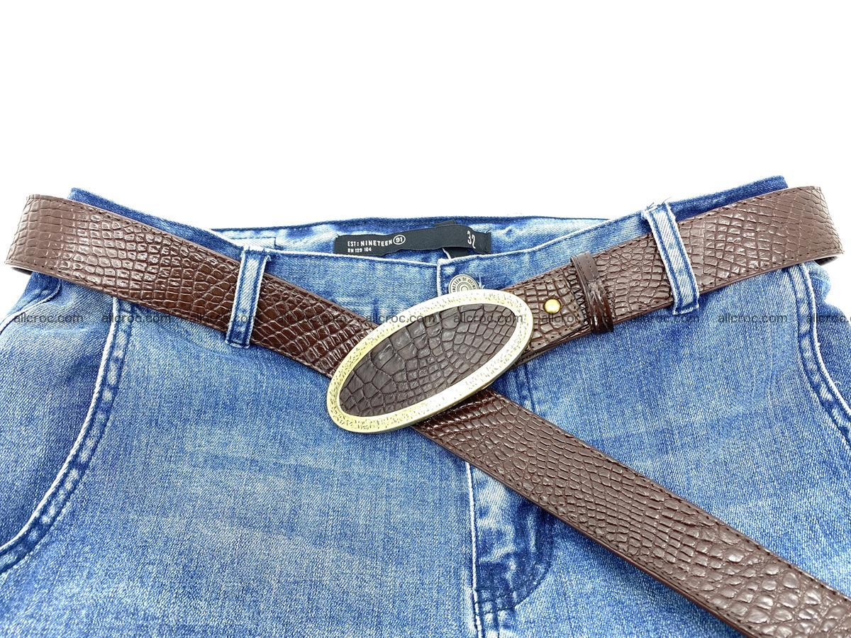 Handcrafted Crocodile leather belt 806 Foto 8