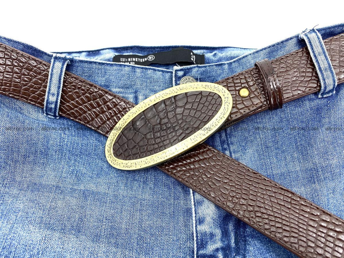 Handcrafted Crocodile leather belt 806 Foto 9