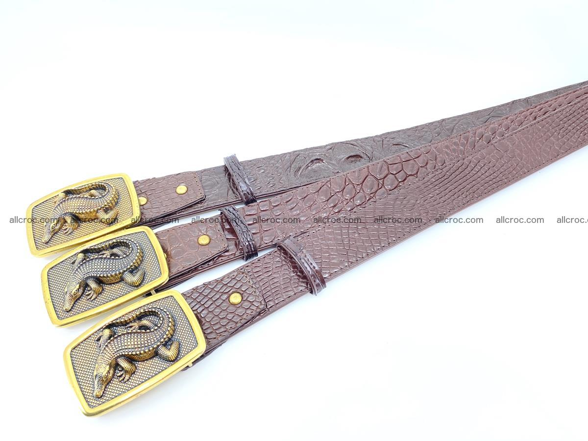 Handcrafted Crocodile leather belt 818 Foto 8