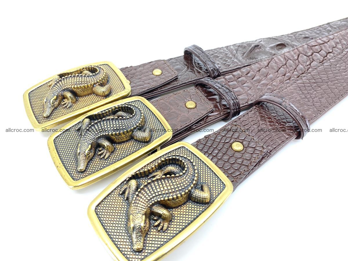 Handcrafted Crocodile leather belt 818 Foto 7