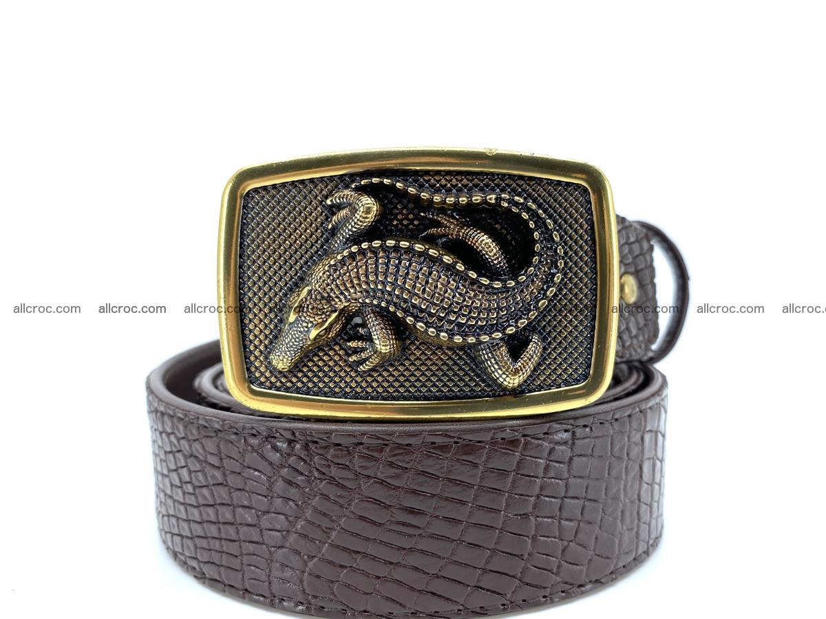 Handcrafted Crocodile leather belt 818 Foto 10