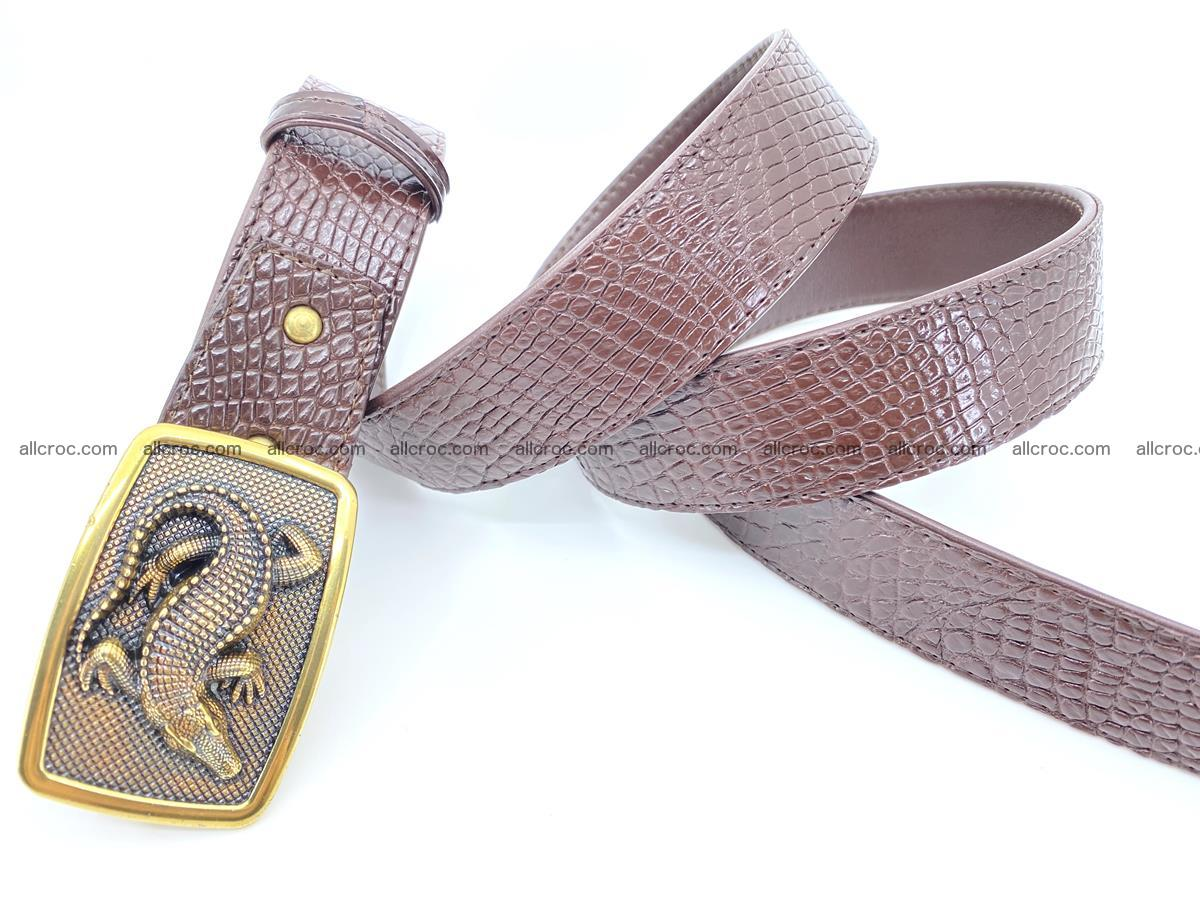 Handcrafted Crocodile leather belt 818 Foto 3