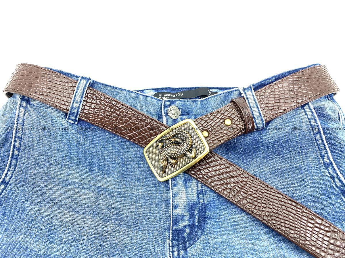 Handcrafted Crocodile leather belt 818 Foto 5
