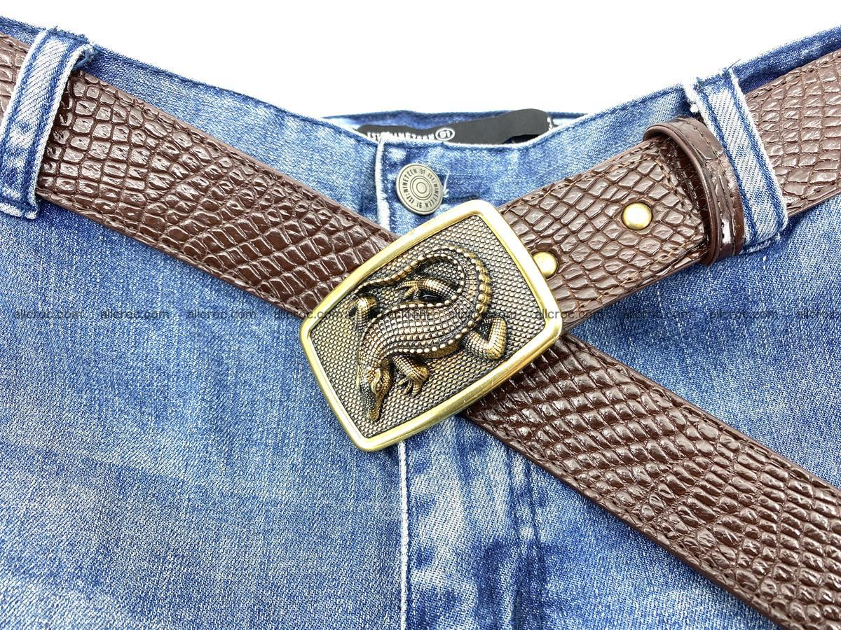 Handcrafted Crocodile leather belt 818 Foto 6