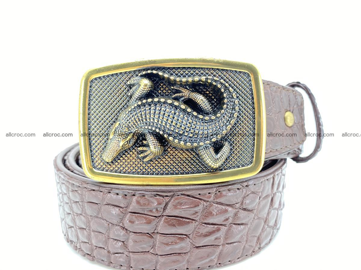 Handcrafted Crocodile leather belt 816 Foto 10