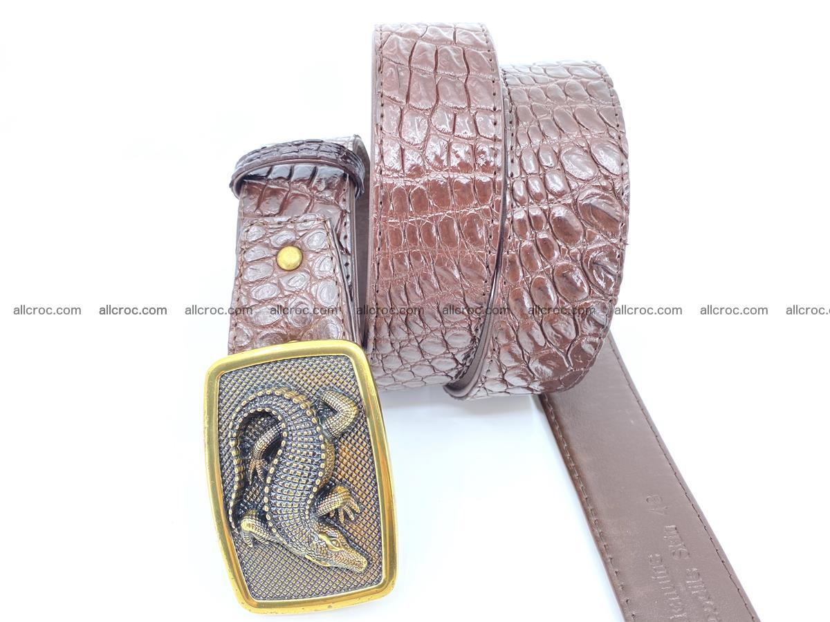 Handcrafted Crocodile leather belt 816 Foto 2