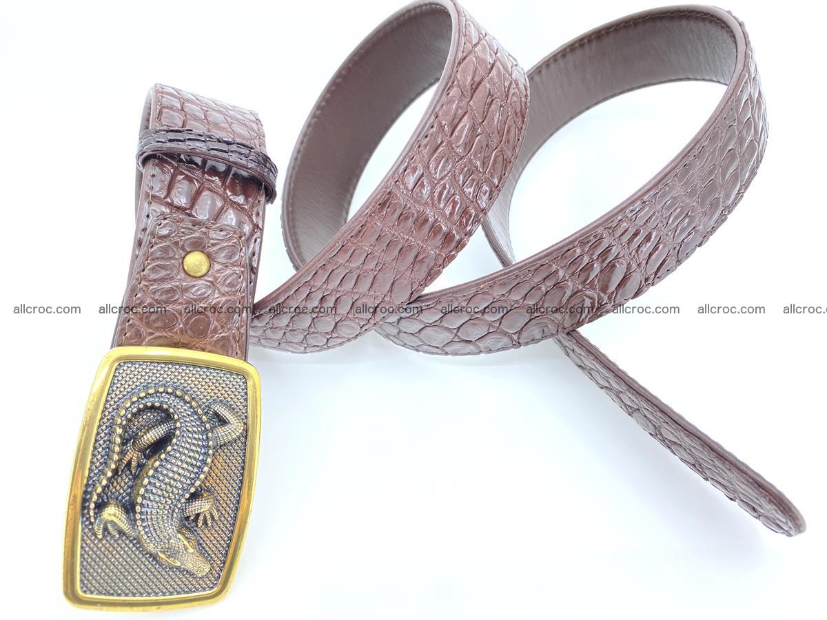 Handcrafted Crocodile leather belt 816 Foto 3