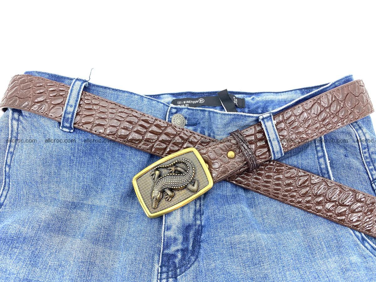 Handcrafted Crocodile leather belt 816 Foto 5