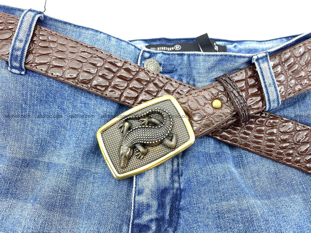 Handcrafted Crocodile leather belt 816 Foto 6