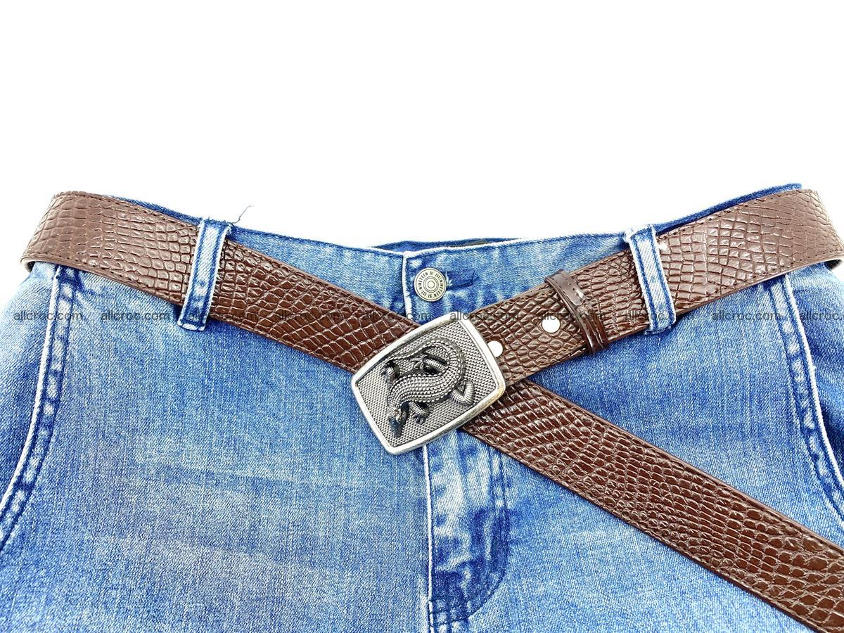 Handcrafted Crocodile leather belt 814 Foto 5