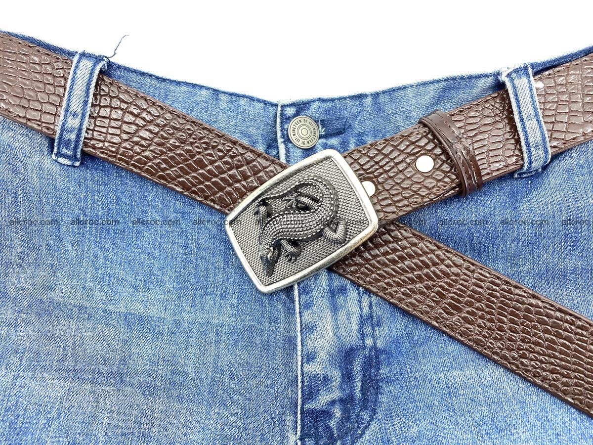 Handcrafted Crocodile leather belt 814 Foto 6