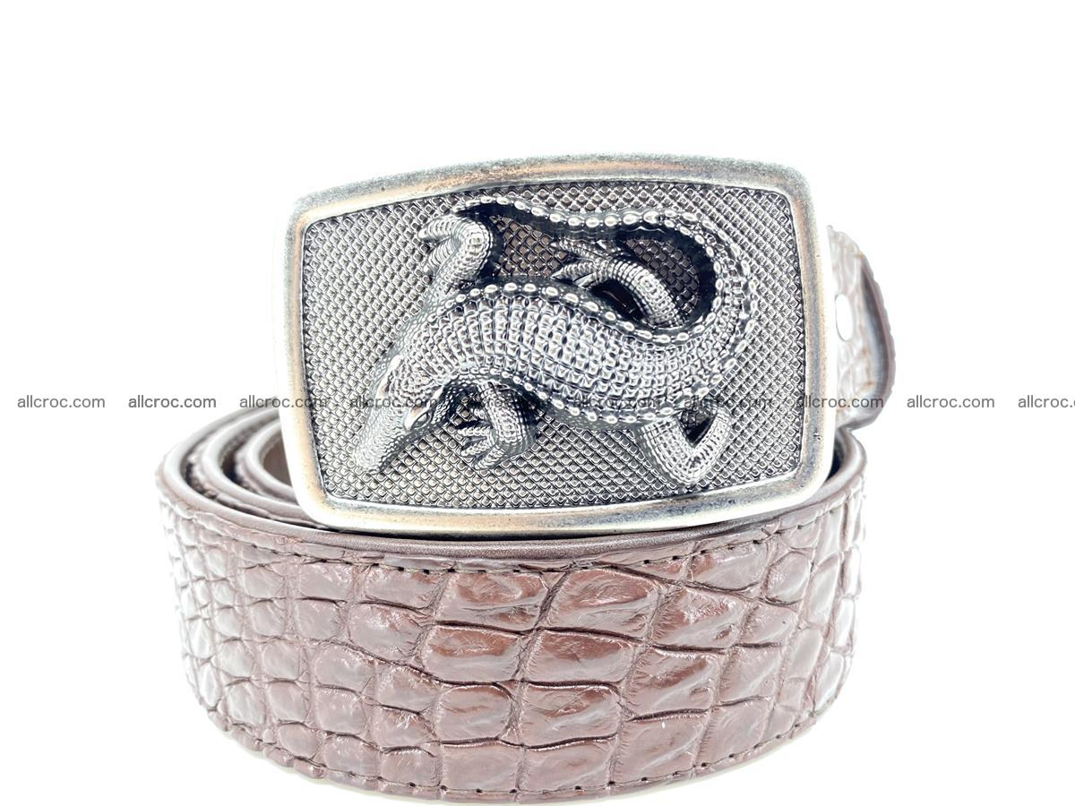 Handcrafted Crocodile leather belt 812 Foto 11