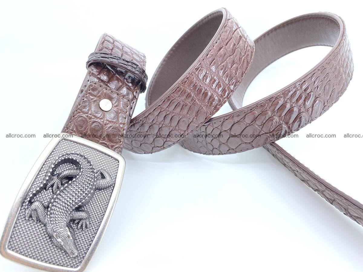 Handcrafted Crocodile leather belt 812 Foto 3