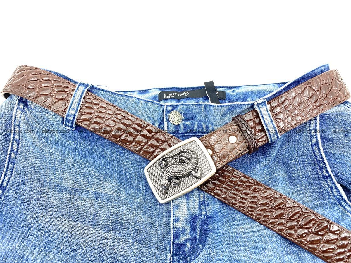 Handcrafted Crocodile leather belt 812 Foto 5