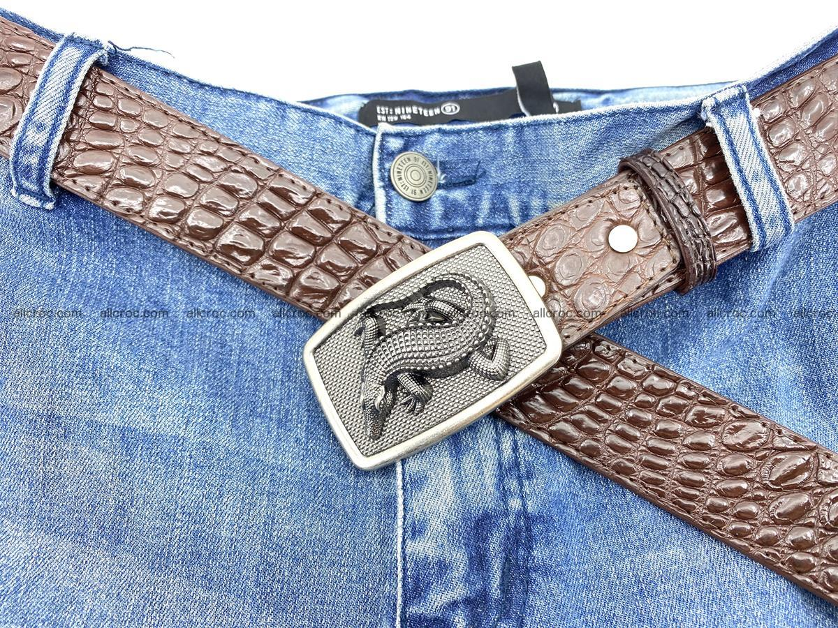 Handcrafted Crocodile leather belt 812 Foto 6