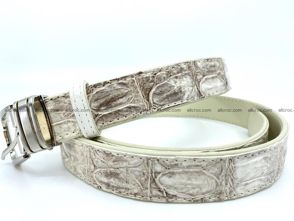 Handcrafted Siamese crocodile leather belt for women 874 Foto 1