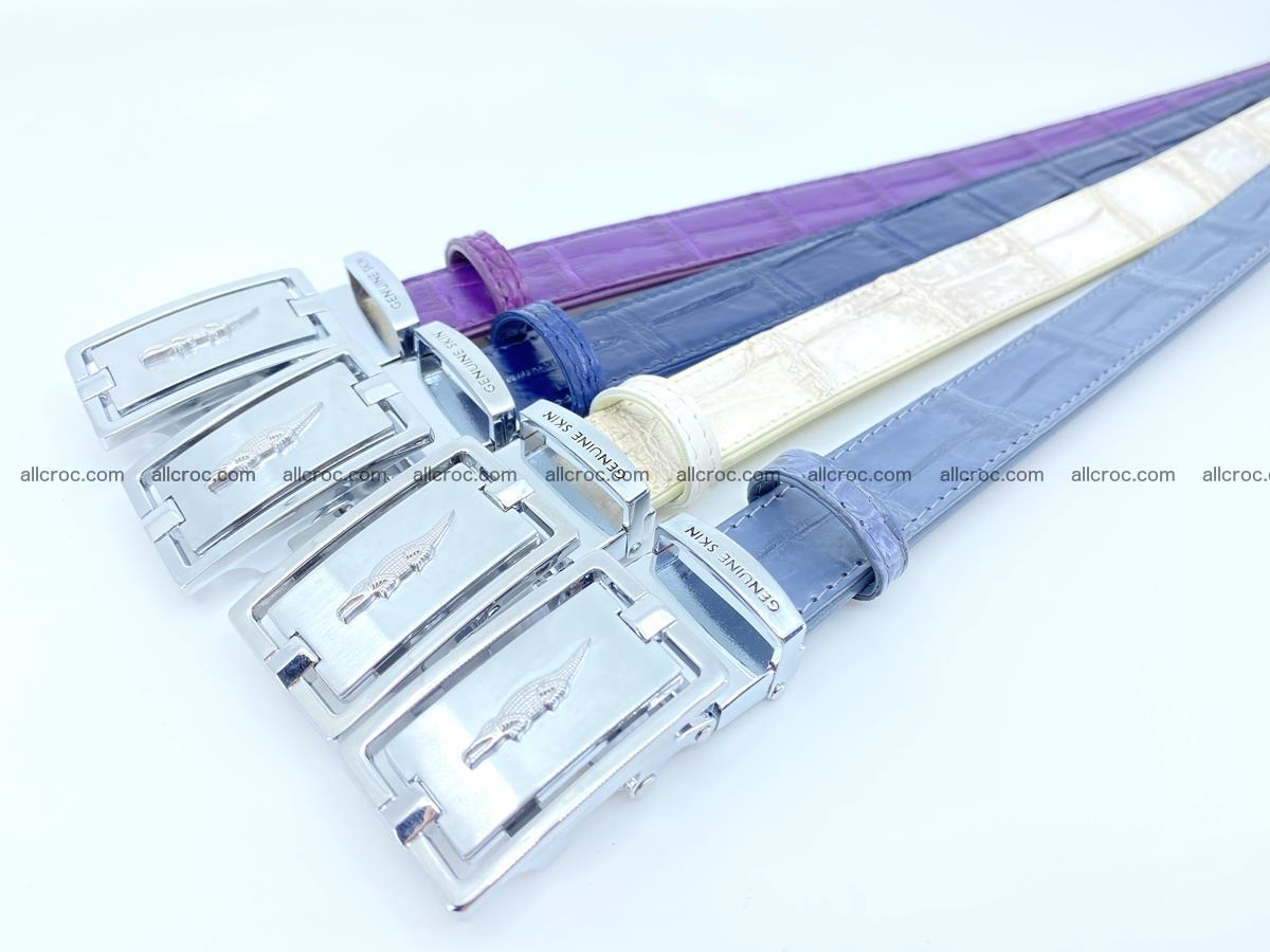 Handcrafted Siamese crocodile leather belt for women 867 Foto 3