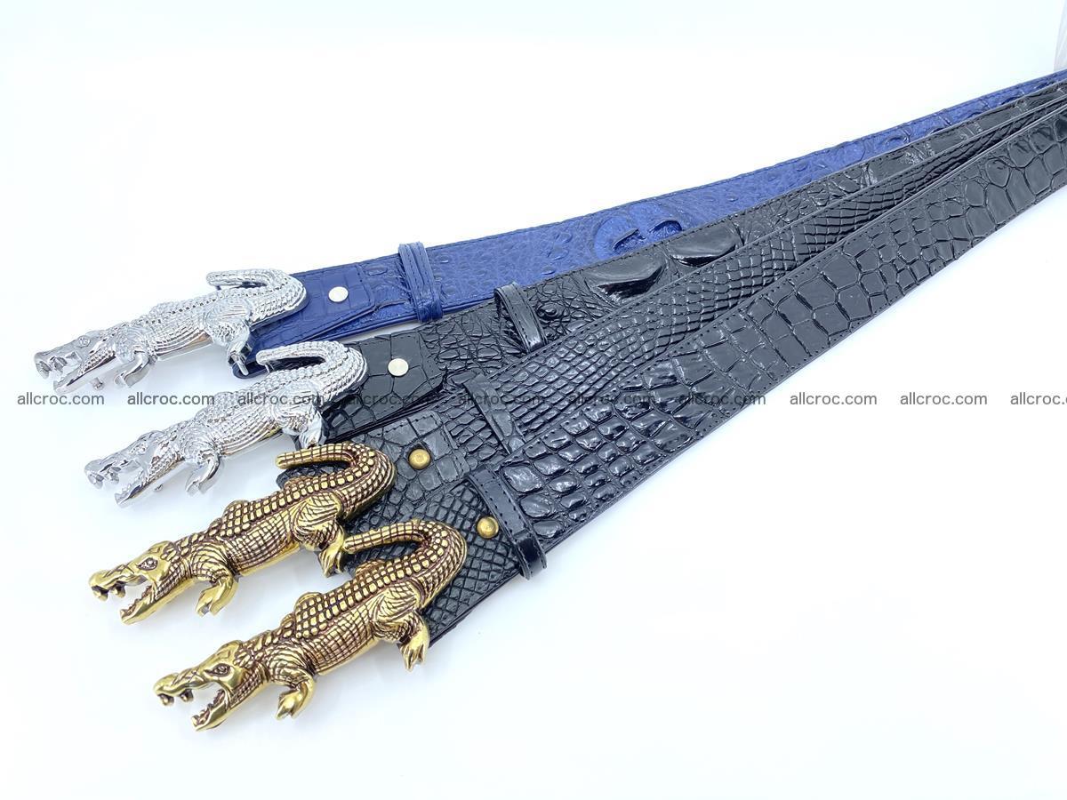 Handcrafted Crocodile leather hornback belt 765 Foto 13