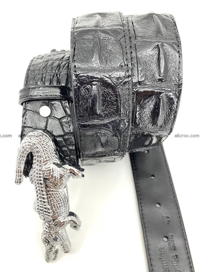 Handcrafted Crocodile leather hornback belt 765 Foto 4