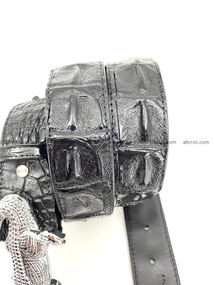 Handcrafted Crocodile leather hornback belt 765 Foto 5