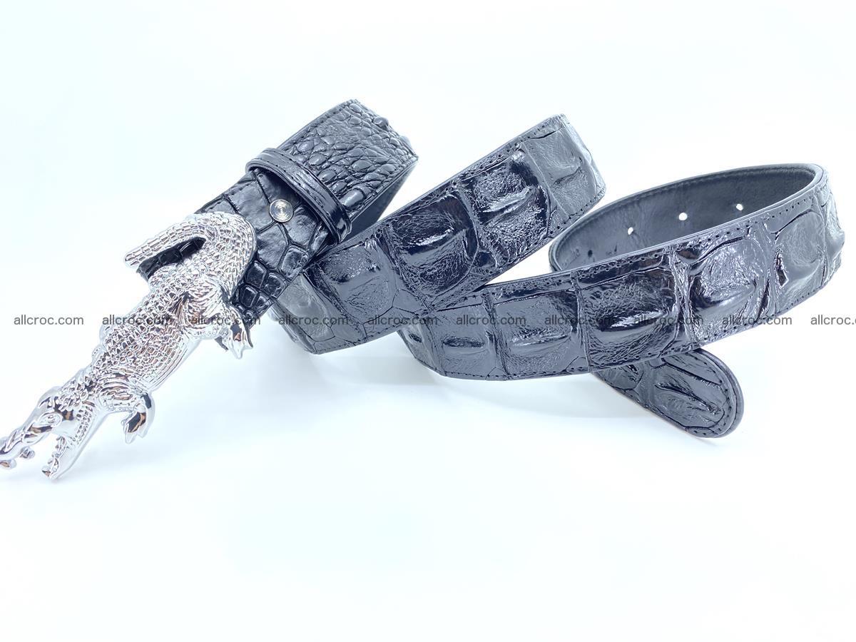 Handcrafted Crocodile leather hornback belt 765 Foto 6