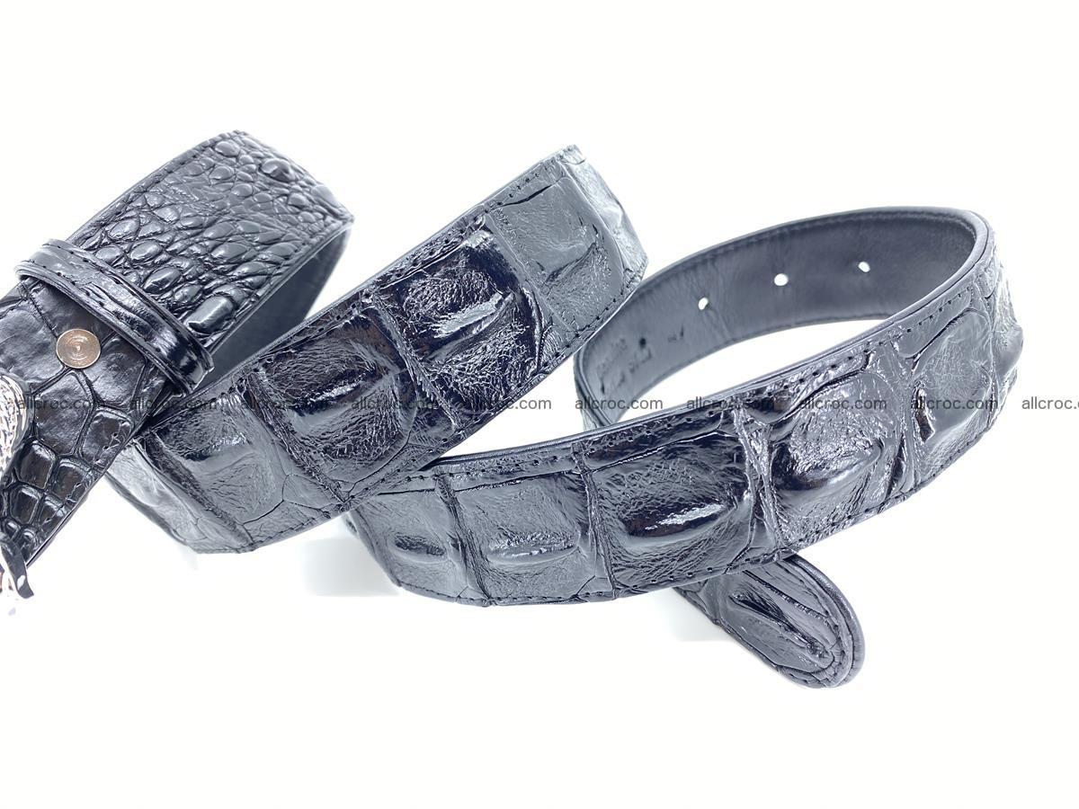 Handcrafted Crocodile leather hornback belt 765 Foto 7