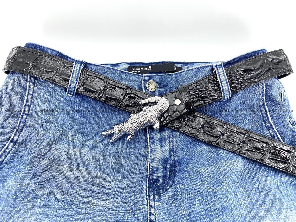 Handcrafted Crocodile leather hornback belt 765 Foto 8
