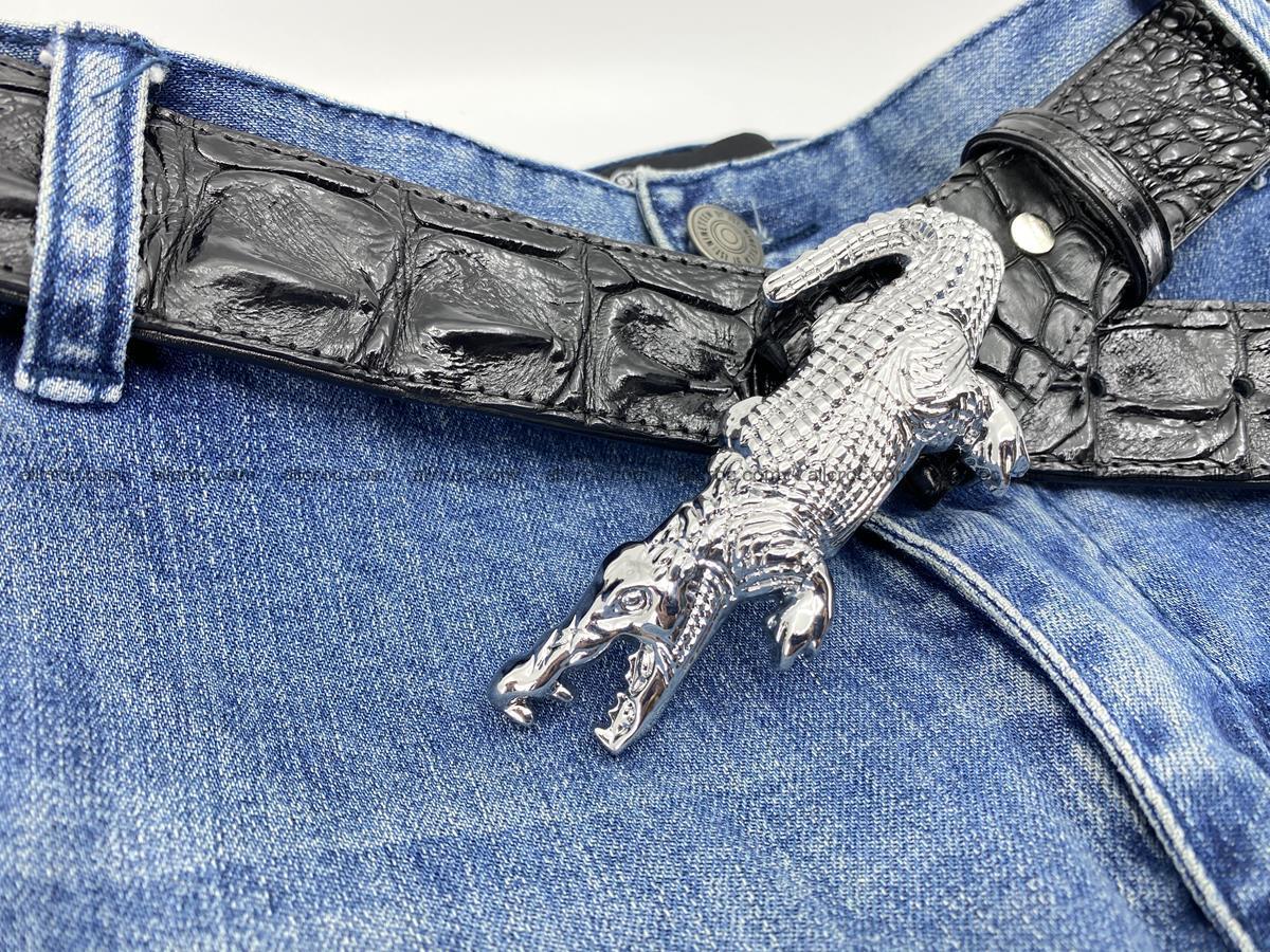 Handcrafted Crocodile leather hornback belt 765 Foto 10