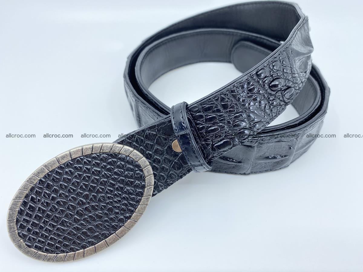 Handcrafted Crocodile leather hornback belt 774 Foto 1