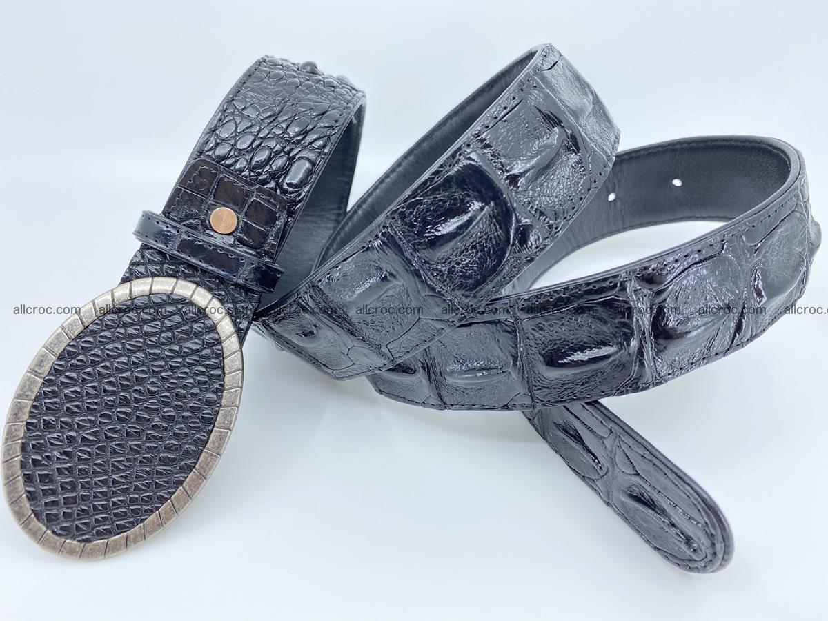 Handcrafted Crocodile leather hornback belt 774 Foto 3