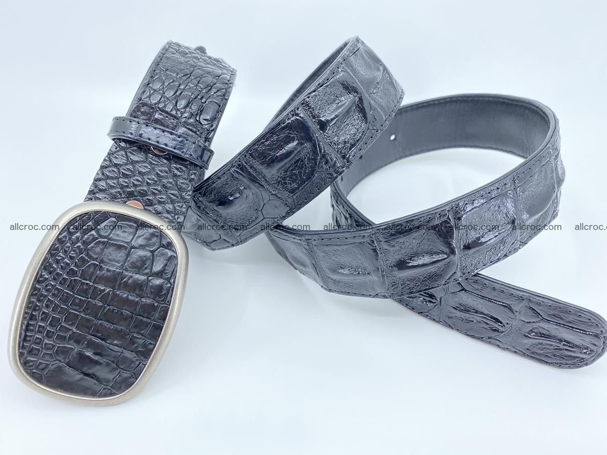 Handcrafted Crocodile leather hornback belt 779 Foto 3