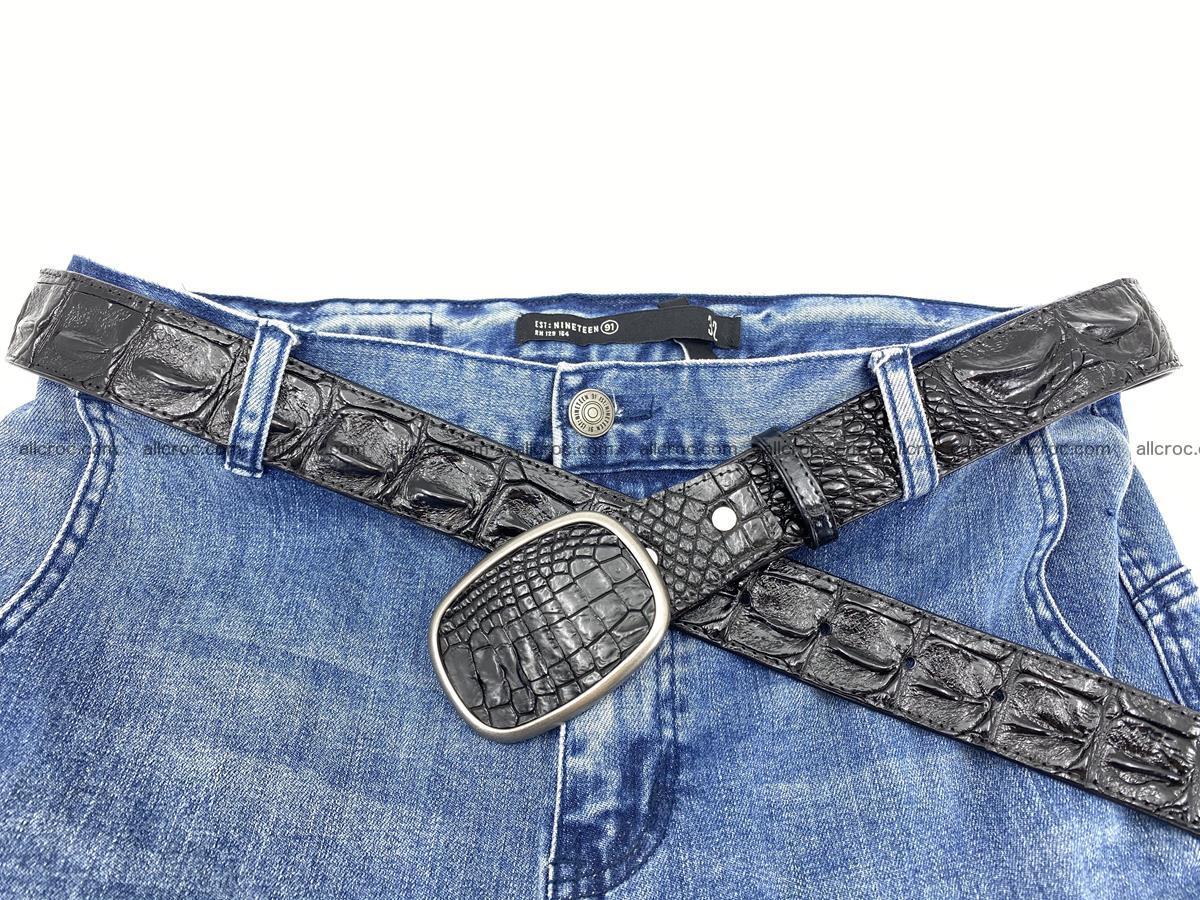 Handcrafted Crocodile leather hornback belt 779 Foto 5