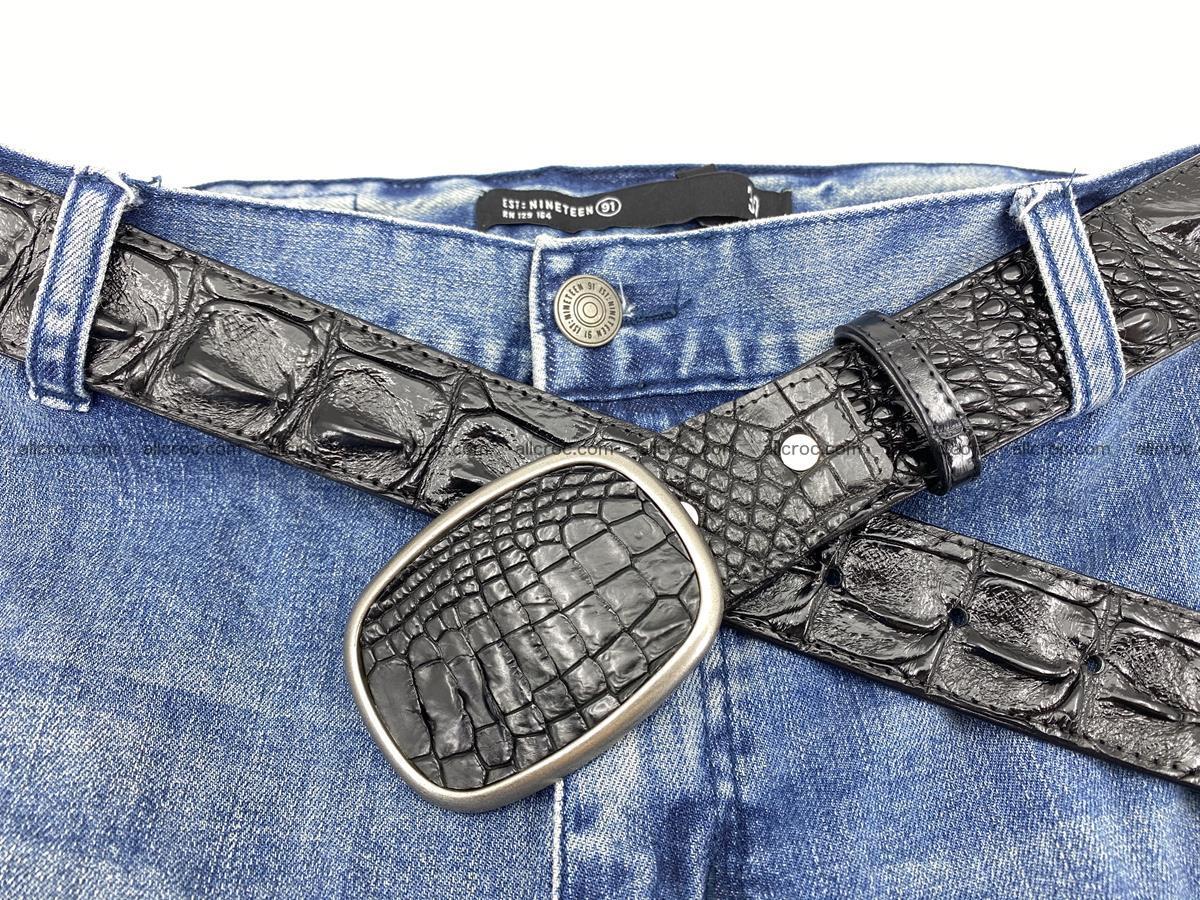 Handcrafted Crocodile leather hornback belt 779 Foto 6