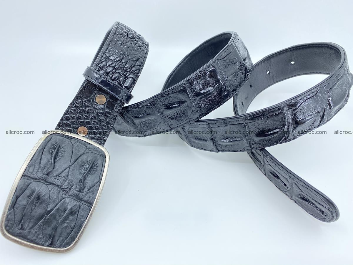 Handcrafted Crocodile leather hornback belt 788 Foto 3