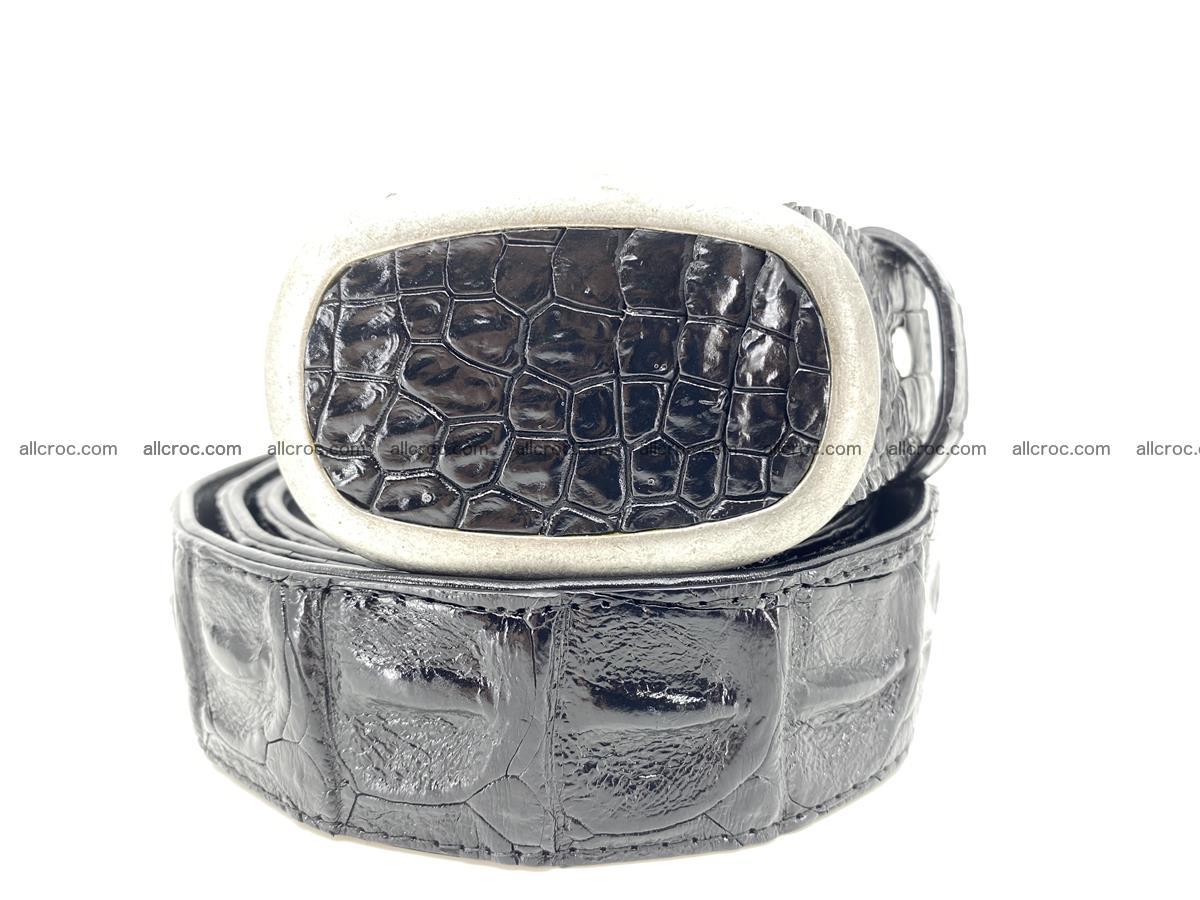 Handcrafted Crocodile leather hornback belt 800 Foto 10