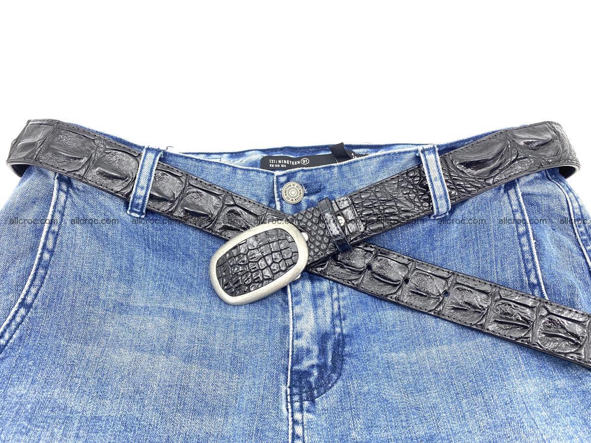 Handcrafted Crocodile leather hornback belt 800 Foto 4