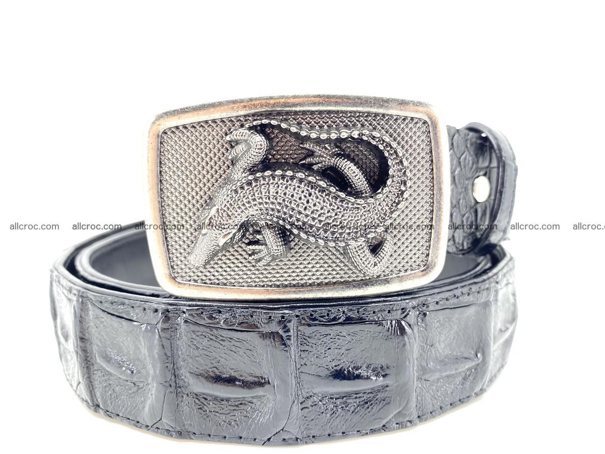 Handcrafted Crocodile leather hornback belt 807 Foto 11