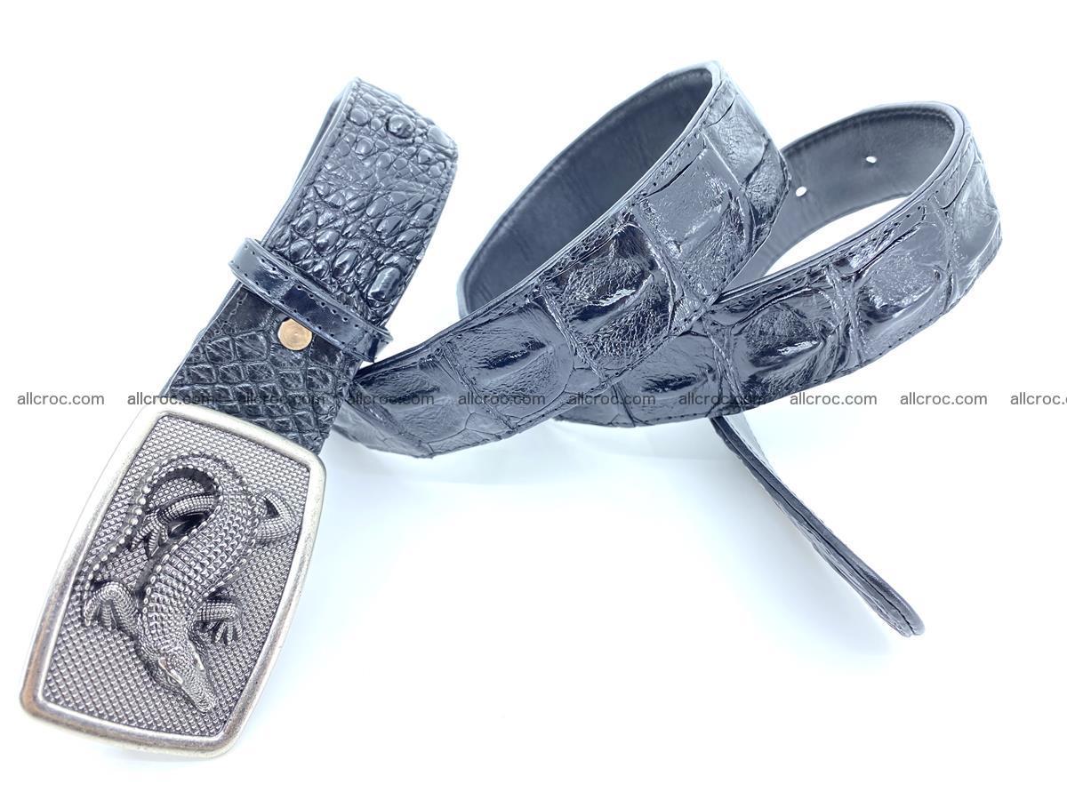 Handcrafted Crocodile leather hornback belt 807 Foto 3