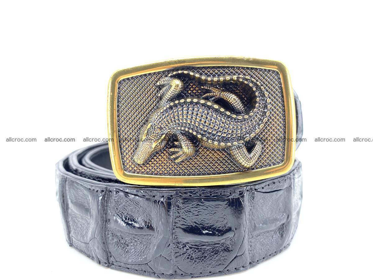 Handcrafted Crocodile leather hornback belt 809 Foto 8
