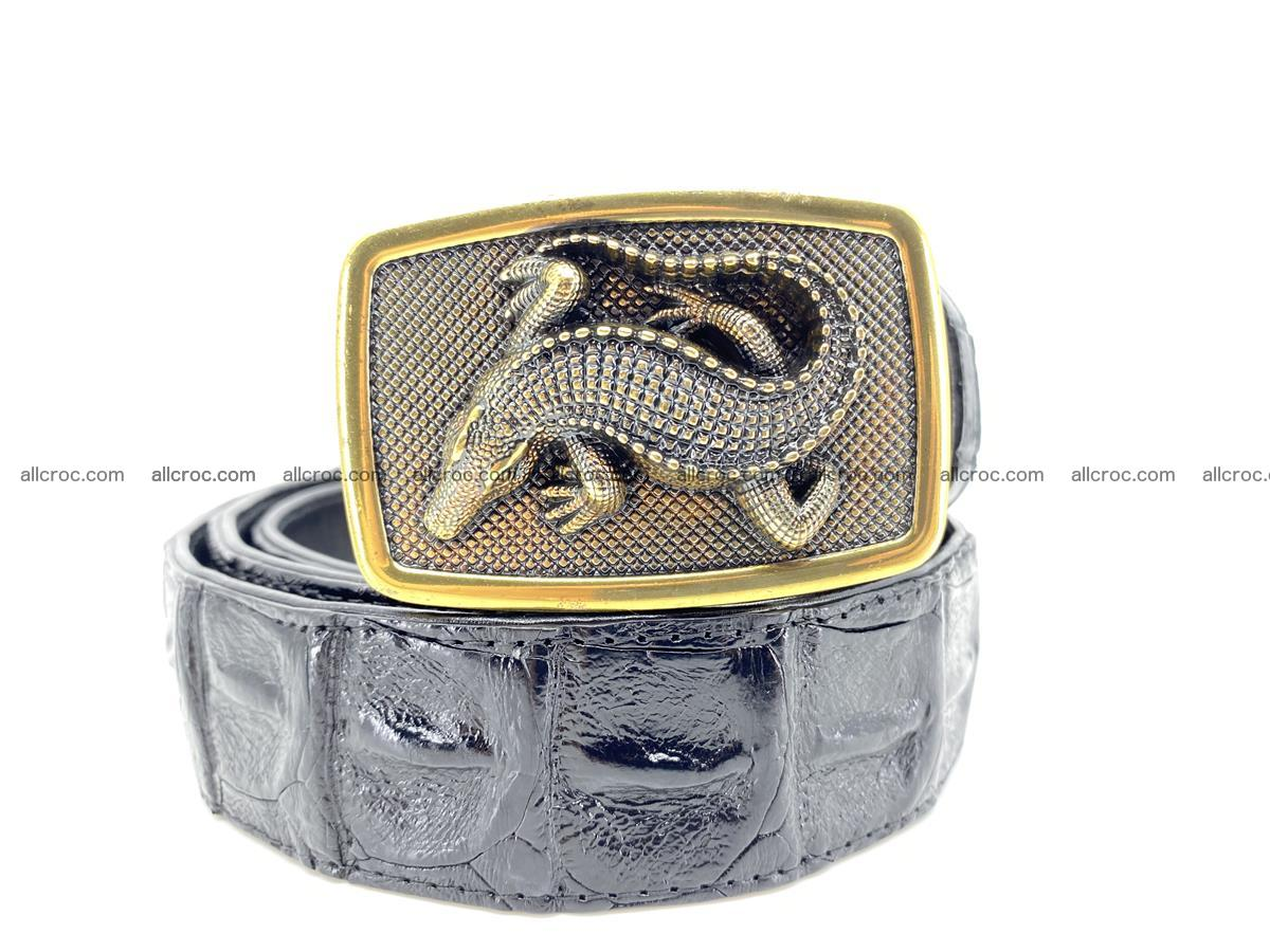 Handcrafted Crocodile leather hornback belt 809 Foto 0