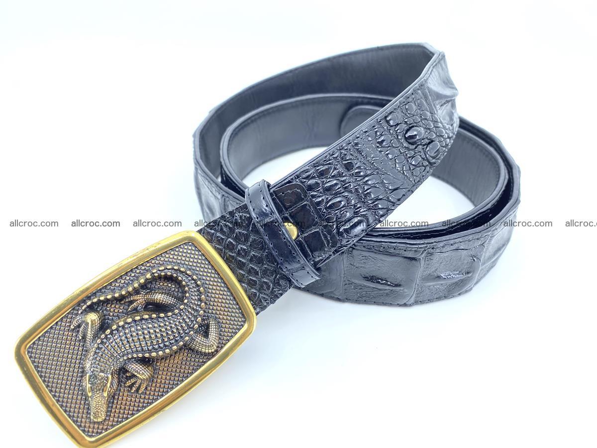 Handcrafted Crocodile leather hornback belt 809 Foto 1